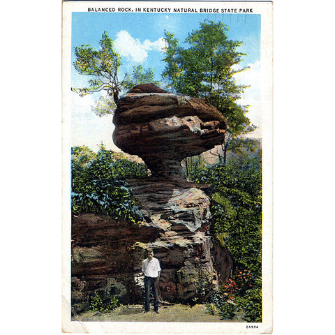 Kentucky Natural Bridge State Park Balanced Rock Vintage Postcard 1935 - Vintage Postcard Boutique