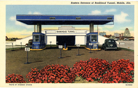 Mobile Alabama Bankhead Tunnel East Entrance Vintage Postcard (unused)