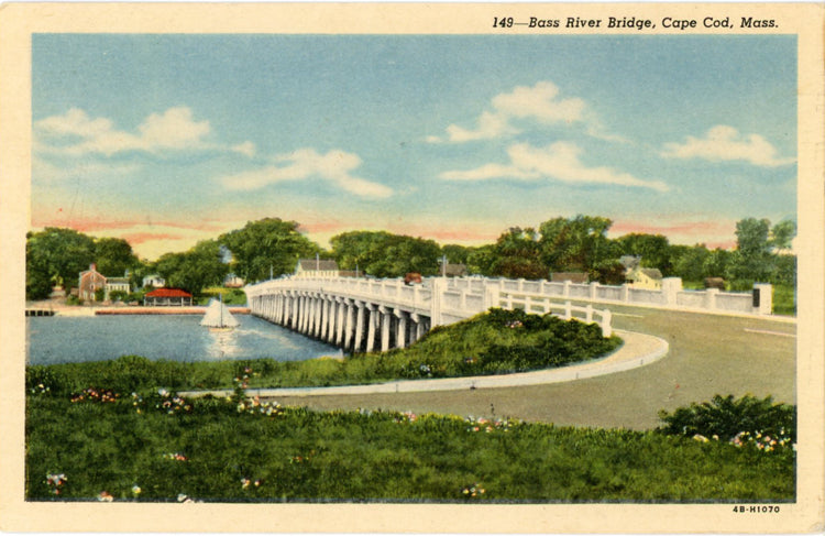 Cape Cod Massachusetts Bass River Bridge Route 28 Vintage Postcard 1940s - Vintage Postcard Boutique