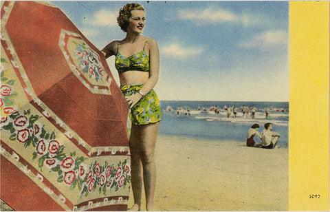 Bathing Beauty by Giant Umbrella on Beach Vintage Postcard (unused) - Vintage Postcard Boutique