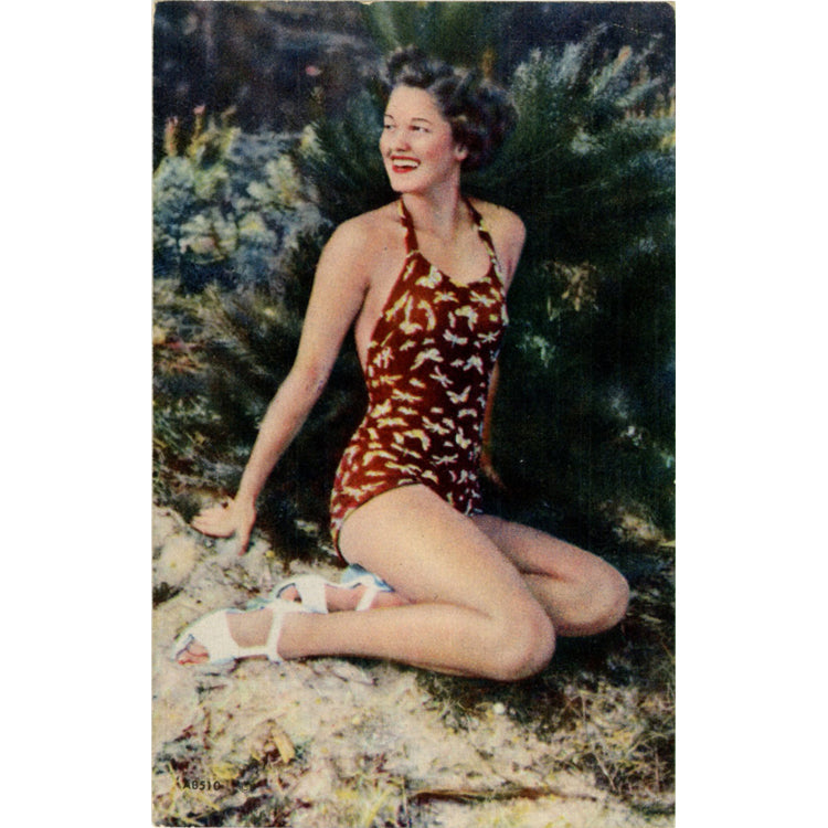 Bathing Beauty Pin-Up Girl in Butterfly Swimsuit Vintage Postcard 1943 - Vintage Postcard Boutique