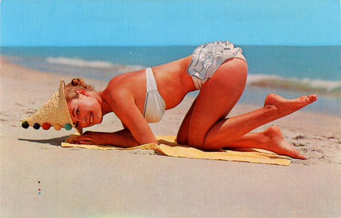 Bathing Beauty in Bikini & Straw Hat on Beach Vintage Postcard (unused) - Vintage Postcard Boutique