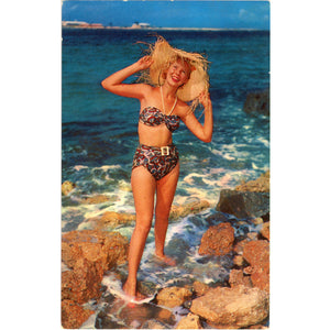 Bathing Beauty Beachcomber in Bikini & Straw Hat at Ocean's Edge Vintage Postcard (unused) - Vintage Postcard Boutique