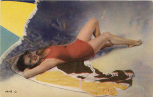 Bathing Beauty Pin-Up Girl Under Beach Umbrella Vintage Postcard (unused) - Vintage Postcard Boutique