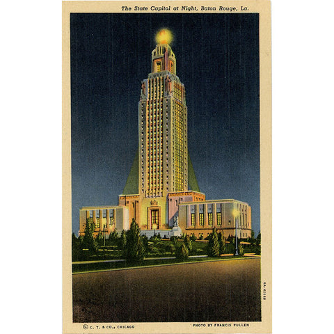 Baton Rouge Louisiana State Capitol at Night Vintage Postcard (unused) - Vintage Postcard Boutique