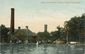 Battlecreek Michigan Water Works Vintage Postcard 1910 - Vintage Postcard Boutique