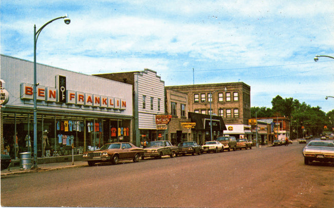 Iron River Michigan Downtown Main Street Dime Store Vintage Postcard (unused) - Vintage Postcard Boutique