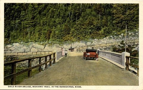 Berkshires Mohawk Trail Cold River Bridge Massachusetts 1920s Vintage Postcard (unused) - Vintage Postcard Boutique