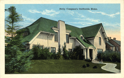 Silent Film Actress Betty Compson Glendale California Home Vintage Postcard circa 1920s (unused)