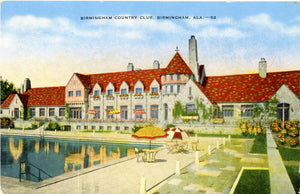 Birmingham Alabama Country Club Poolside Vintage Postcard 1939 - Vintage Postcard Boutique