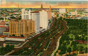 Miami Florida Skyscraper Hotels on Biscayne Boulevard Vintage Postcard (unused) - Vintage Postcard Boutique