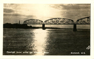 Bismarck North Dakota Missouri River Bridge in Moonlight RPPC Vintage Postcard 1939 - Vintage Postcard Boutique