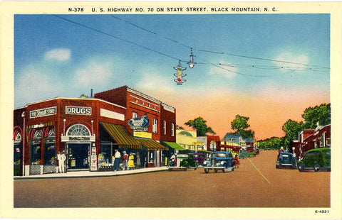 Black Mountain North Carolina Main Street Drugstore Vintage Postcard (unused)