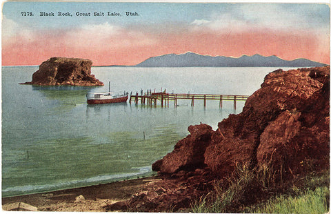 Great Salt Lake Utah Black Rock Vintage Postcard circa 1910 (unused) - Vintage Postcard Boutique