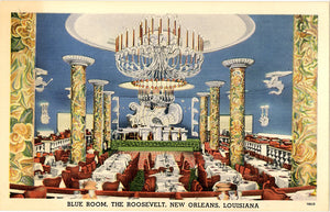 New Orleans Louisiana Roosevelt Blue Room Vintage Postcard (unused)