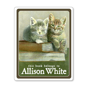 Book Lover Kittens Ex Libris Personalized Adhesive Bookplates - BABY SHOWER GIFT - Vintage Postcard Boutique