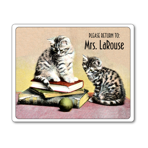 Bookworm Kitties Ex Libris Personalized Bookplates - CHILDRENS BOOKS - Vintage Postcard Boutique