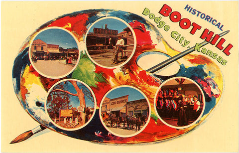 Dodge City Kansas Boot Hill Palette Series Vintage Postcard (unused) - Vintage Postcard Boutique