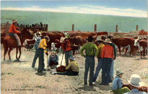 Cowboys Branding Cattle in Southwest Vintage Postcard circa 1940s (unused) - Vintage Postcard Boutique