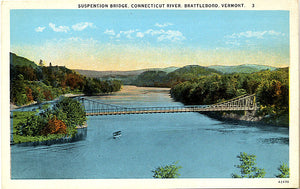 Brattleboro Vermont Suspension Bridge Connecticut River Vintage Postcard (unused) - Vintage Postcard Boutique