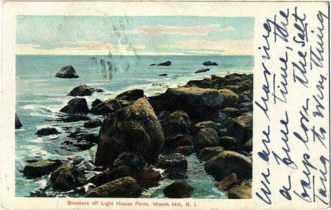 Watch Hill Rhode Island Light House Point Vintage Postcard 1913 - Vintage Postcard Boutique
