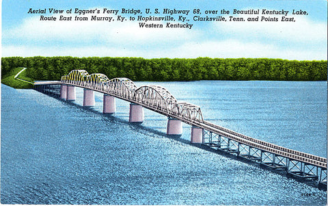 Kentucky Lake Eggner's Ferry Bridge Aerial Vintage Postcard (unused) - Vintage Postcard Boutique