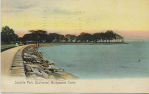 Bridgeport Connecticut Seaside Park Blvd. Sunset Vintage Postcard 1912 - Vintage Postcard Boutique