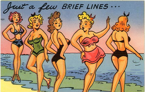 Few Brief Lines Women in Swimsuits on Beach Vintage Comic Postcard (unused) - Vintage Postcard Boutique