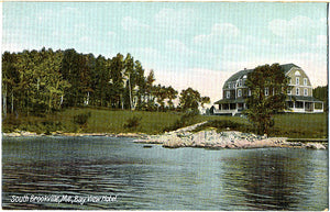 South Brookville Maine Bay View Hotel Postcard