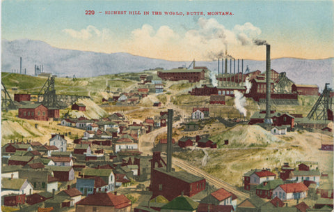 Butte Montana Richest Hill in World Vintage Postcard (unused) - Vintage Postcard Boutique