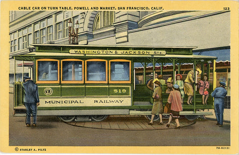 San Francisco California Cable Caron Turn Table at Powell & Market Vintage Postcard 1954 - Vintage Postcard Boutique