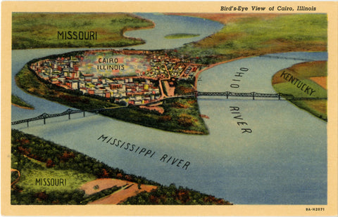 Cairo Illinois Ohio River Mississippi River Bird's Eye View Vintage Postcard (unused) - Vintage Postcard Boutique