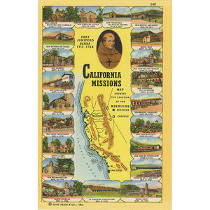 California Franciscan Missions Map Fray Junipero Serra Vintage Postcard (unused) - Vintage Postcard Boutique