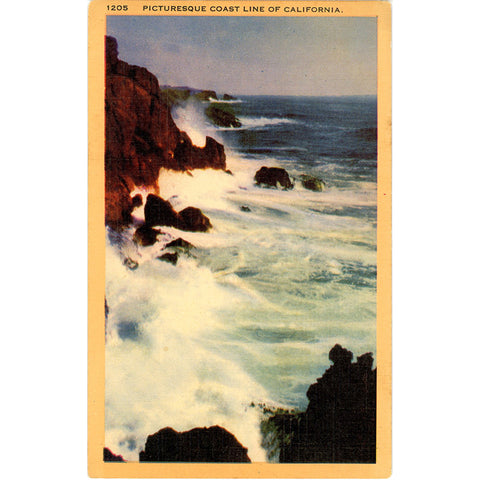 Southern California Picturesque Coast Line on Pacific Vintage Postcard (unused) - Vintage Postcard Boutique