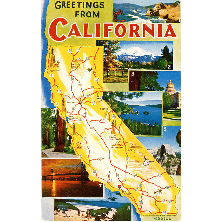 California State Map Multi View Vintage Postcard (unused) - Vintage Postcard Boutique