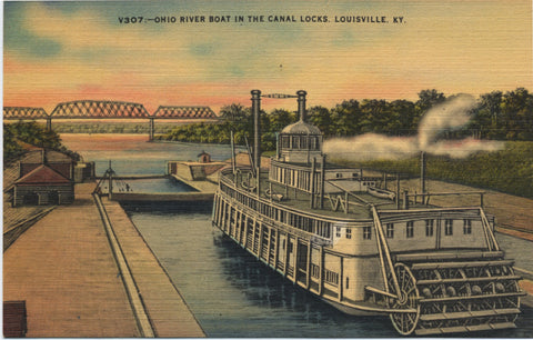 Louisville Kentucky Ohio River Boat in Canal Locks Vintage Postcard (unused) - Vintage Postcard Boutique
