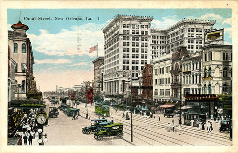New Orleans Louisiana Canal Street Vintage Postcard 1924