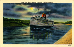 New York Boat Passing Through Cape Cod Canal Massachusetts Vintage Postcard 1944 - Vintage Postcard Boutique