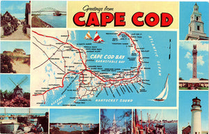 Cape Cod Natucket Martha's Vineyard Map Vintage Postcard (unused) - Vintage Postcard Boutique