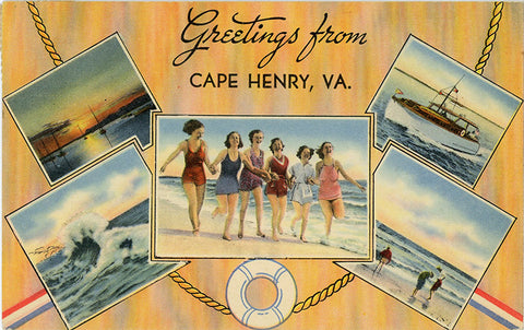 Cape Henry Virginia Bathing Beauties Vintage Postcard 1944 - Vintage Postcard Boutique