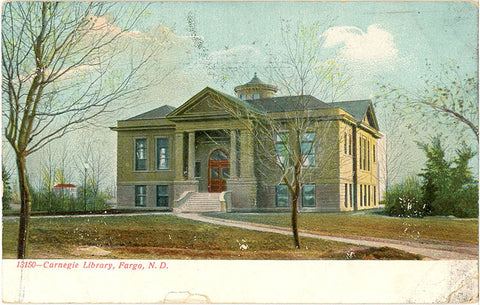 Fargo North Dakota Carnegie Library Vintage Postcard 1908 - Vintage Postcard Boutique