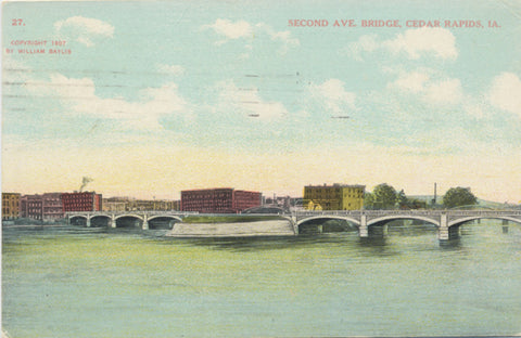 Cedar Rapids Iowa Second Ave Bridge Vintage Postcard 1909 - Vintage Postcard Boutique