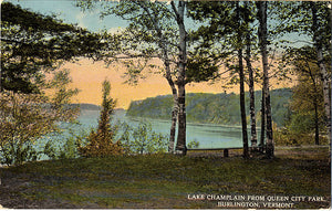 Burlington Vermont Lake Champlain Queen City Park Vintage Postcard 1913 - Vintage Postcard Boutique