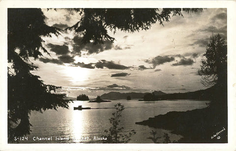 Channel Island at Sunset Alaska RPPC Vintage Postcard 1941 - Vintage Postcard Boutique