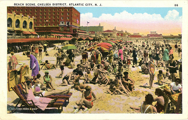 Beach Scene Chelsea District Atlantic City Vintage New Jersey Postcard (unused) - Vintage Postcard Boutique