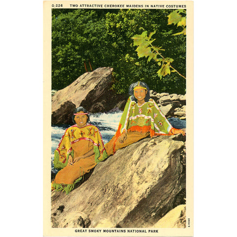 Cherokee Indian Maidens Great Smoky Mountains National Park Vintage Postcard (unused) - Vintage Postcard Boutique