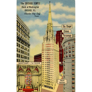 Chicago Temple First Methodist Church Chicago Illinois Vintage Postcard (unused) - Vintage Postcard Boutique