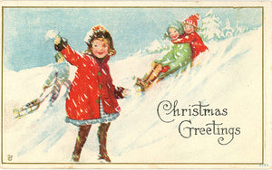 Children Sledding Embossed Christmas Vintage Postcard 1916 - Vintage Postcard Boutique