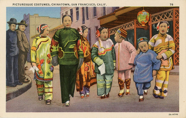 San Francisco California Chinatown Children Picturesque Costumes Vintage Postcard 1940s (unused) - Vintage Postcard Boutique