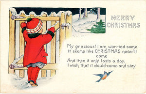 Little Girl at Gate Merry Christmas Embossed Vintage Postcard 1922 - Vintage Postcard Boutique